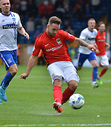 Coventry City Striker, Adam Armstrong unleashes a shot during the Sky Bet League 1 match between Bury and Coventry City at Gigg Lane, Bury, England on 26 September 2015. Photo by Mark Pollitt.