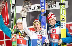06.01.2014, Paul Ausserleitner Schanze, Bischofshofen, AUT, FIS Ski Sprung Weltcup, 62. Vierschanzentournee, Bischofshofen, Siegerpraesentation, im Bild Tagespodium v l n r Peter Prevc (SLO, 2. Platz), Thomas Diethart (AUT, 1. Platz) und Thomas Morgenstern (AUT, 3. Platz) // Daypodiumf l t r Peter Prevc (SLO, 2. placed), Thomas Diethart (AUT, Winner) and Thomas Morgenstern (AUT, 3. pßlaced) celebrate on Podium after Competition of 62 nd Four Hills Tournament of FIS Ski Jumping World Cup at the Paul Ausserleitner Schanze in Bischofshofen Austria on 2014/01/06. EXPA Pictures © 2014, PhotoCredit: EXPA/ JFK