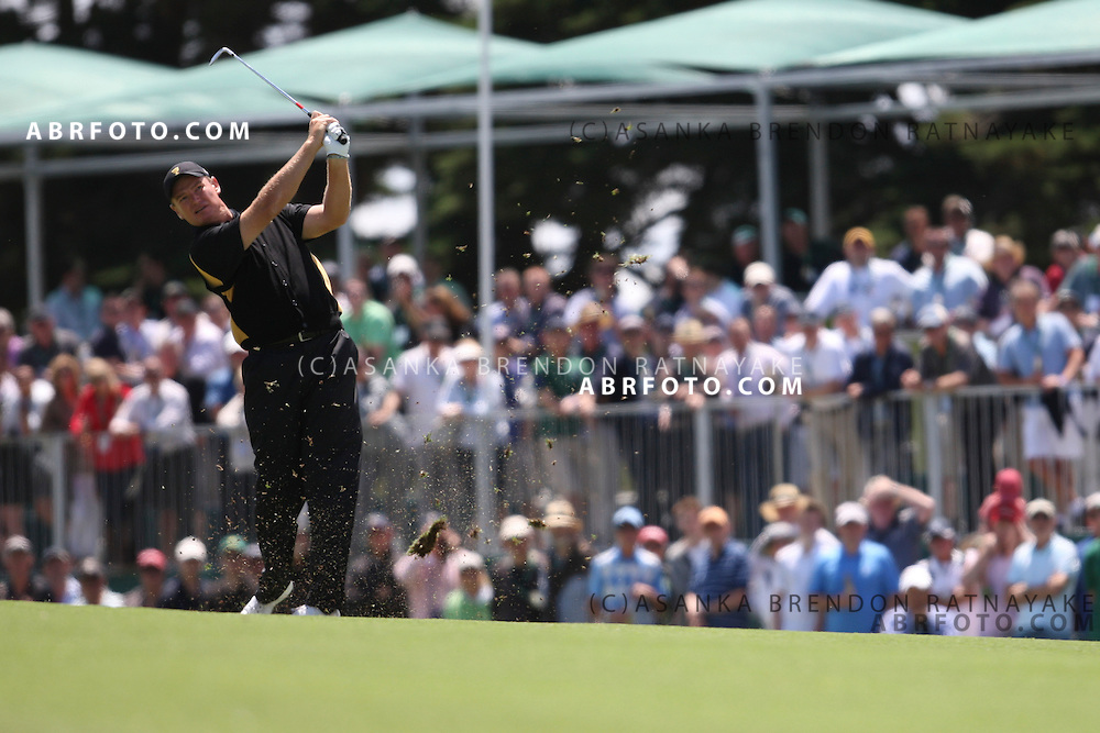 20 November 2011 : Ernie Els plays an Iron approach shot during the fifth-round Sunday Final round single ball matches at the Presidents Cup at the Royal Melbourne Golf Club in Melbourne, Australia. .