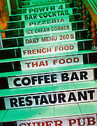 The stairway to a multi-serviced restaurant.