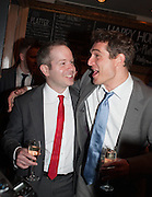 Damian Humbley; Mark Umbers, The press night performance of the Menier Chocolate Factory's 'Merrily We Roll Along', following its transfer to the Harold Pinter Theatre, After-show party at Grace Restaurant, Gt. Windmill St. London. 1 May 2013.
