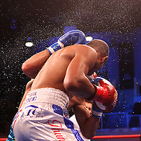 Luis Carlos Abregu and Thomas Dulorme fight for the WBC International title during the HBO Triple Explosion fight at the Turning Stone Resort Casino in Verona, NY, on Saturday, Oct 27, 2012.  Abregu won the bout by TKO in the 7th round.(AP Photo/Alex Menendez)