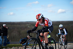 Chantal Hoffmann (LUX) attacks the VAMberg cobbles at Drentse 8 van Westerveld 2019, a 145 km road race starting and finishing in Dwingeloo, Netherlands on March 15, 2019. Photo by Sean Robinson/velofocus.com