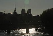 France. Paris. 1st district Art bridge on the Seine river Notre Dame cathedral in the distance / le pont des arts sur la Seine