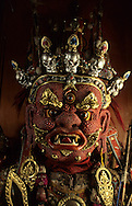 Mongolia. coral mask of  - Begze -  Tsam dance, 19th century (Paper mache, monastery museum of Tchoijin Lamyn, Ulan Bator).