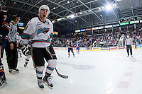 KELOWNA, CANADA - APRIL 4: Tyson Baillie #24 of Kelowna Rockets celebrates the first goal of game 7 in round 1 of WHL playoffs against the Kamloops Blazers on April 4, 2016 at Prospera Place in Kelowna, British Columbia, Canada.  (Photo by Marissa Baecker/Shoot the Breeze)  *** Local Caption *** Tyson Baillie;