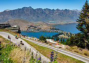 Skyline Queenstown Luge with views of Lake Wakatipu and The Remarkables. Queenstown, Otago region, South Island of New Zealand.