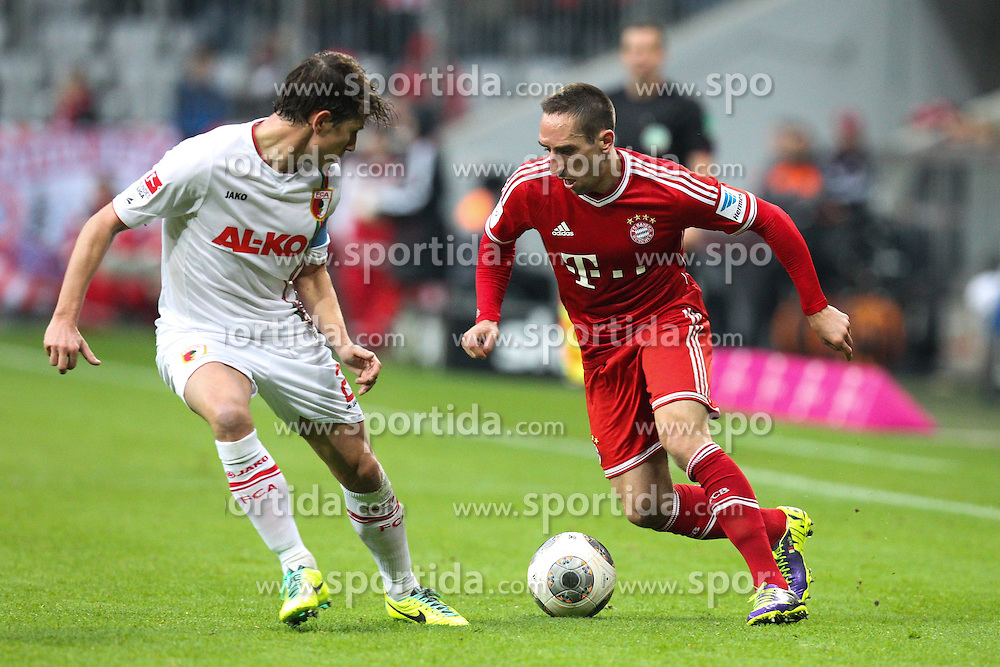 09.11.2013, Allianz Arena, Muenchen, GER, 1. FBL, FC Bayern Muenchen vs FC Augsburg, 12. Runde, im Bild l-r: im Zweikampf, Aktion, mit Paul VERHAEGH #2 (FC Augsburg), Franck RIBERY #7 (FC Bayern Muenchen) // during the German Bundesliga 12th round match between FC Bayern Munich and FC Augsburg at the Allianz Arena in Muenchen, Germany on 2013/11/09. EXPA Pictures &copy; 2013, PhotoCredit: EXPA/ Eibner-Pressefoto/ Kolbert<br /> <br /> *****ATTENTION - OUT of GER*****