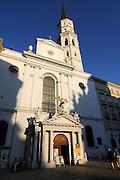 The facade of a church in Vienna, Austria