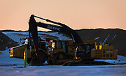 View of construction equipment on Foxconn's Mount Pleasant technology campus in Mount Pleasant, Wisconsin, Sunday, March 3, 2019.
