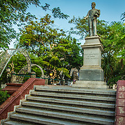 Imposing statue of Jose Fernandez de Madrid in the Plaza Fernandez de Madrid, Old City, Cuidad Vieja, Cartagena, Colombia.
