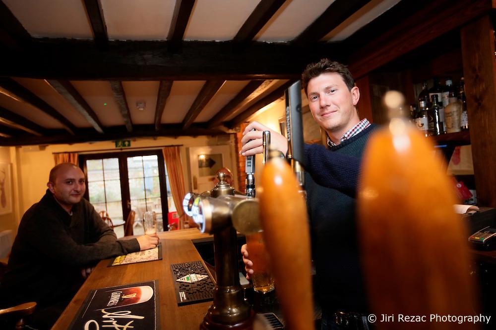 UK ENGLAND HURSTBOURNE TARRANT 9SEP16 - Publican Adam Vella (26) pours a pint at the George and Dragon pub in Hurstbourne Tarrant, westcountry, England.<br /> <br /> jre/Photo by Jiri Rezac<br /> <br /> © Jiri Rezac 2016