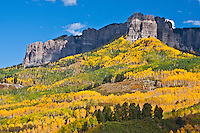 Volcanic cliffs on Cimarron Ridge during the autumn season. San Juan Mountains, Colorado.