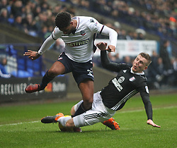 Matt Targett of Fulham (R) tackles Mark Little of Bolton Wanderers - Mandatory by-line: Jack Phillips/JMP - 10/02/2018 - FOOTBALL - Macron Stadium - Bolton, England - Bolton Wanderers v Fulham - English Football League Championship