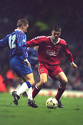 LIVERPOOL, ENGLAND - Saturday, January 6, 1996: Liverpool's Dominic Matteo in action against Rochdale during the FA Cup 3rd Round match at Anfield. (Photo by David Rawcliffe/Propaganda)