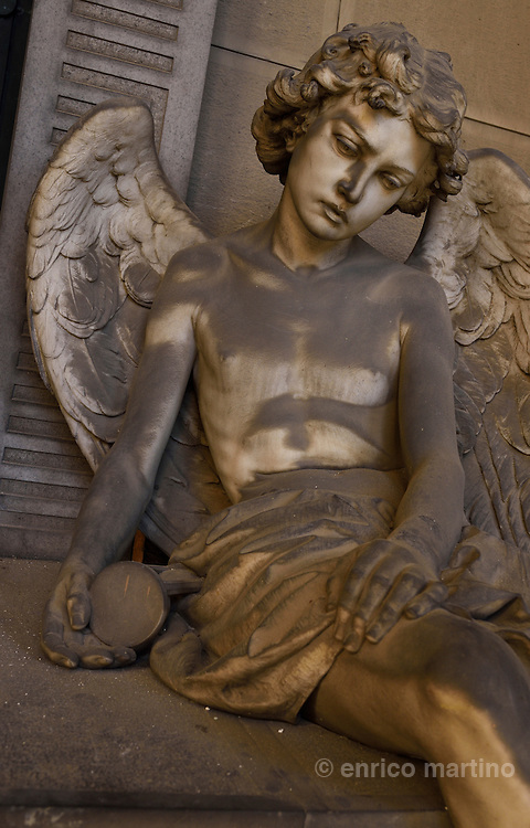 Genoa.  The Cimitero monumentale di Staglieno is famous for its monumental sculpture. Tomba Rossi by Giuseppe Benetti 1878. Covering an area of more than a square kilometre, it is one of the largest cemeteries in Europe.