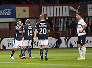 Peter MacDonald is congratulated after scoring by Phil Roberts - Dundee v Raith Rovers, Scottish League Cup at Dens Park<br /> <br />  - &copy; David Young - www.davidyoungphoto.co.uk - email: davidyoungphoto@gmail.com