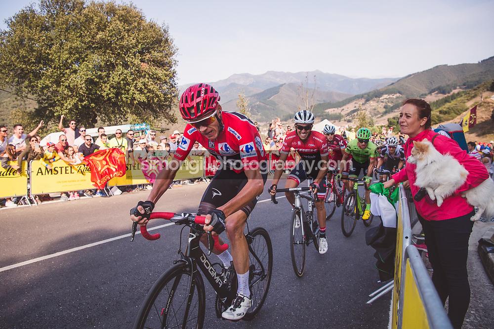 September 7th 2017, Suances to Santo Toribio de Liébana, Spain; Cycling, Vuelta a Espana Stage 18; Chris Froome and Alberto Contador.