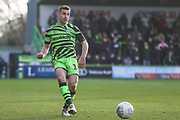 Forest Green Rovers Kevin Dawson(18) passes the ball forward during the EFL Sky Bet League 2 match between Forest Green Rovers and Walsall at the New Lawn, Forest Green, United Kingdom on 8 February 2020.