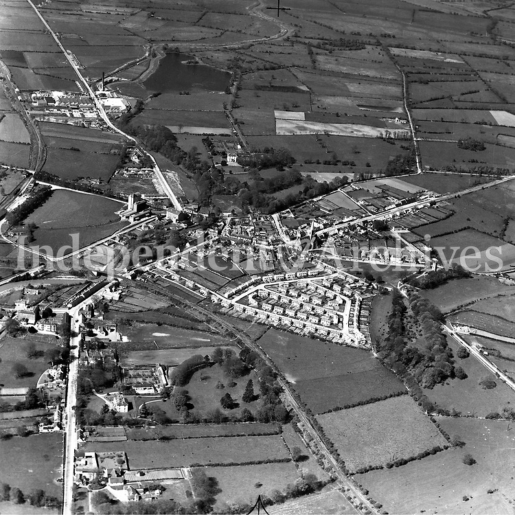 A110 Clara, Offaly.   24/04/53. (Part of the Independent Newspapers Ireland/NLI collection.)<br /> <br /> <br /> These aerial views of Ireland from the Morgan Collection were taken during the mid-1950's, comprising medium and low altitude black-and-white birds-eye views of places and events, many of which were commissioned by clients. From 1951 to 1958 a different aerial picture was published each Friday in the Irish Independent in a series called, 'Views from the Air'.<br /> The photographer was Alexander 'Monkey' Campbell Morgan (1919-1958). Born in London and part of the Royal Artillery Air Corps, on leaving the army he started Aerophotos in Ireland. He was killed when, on business, his plane crashed flying from Shannon.