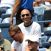 Derek Jeter attended Caroline Wozniacki's first round match of the 2015 US Open at the USTA Billie Jean King National Tennis Center.