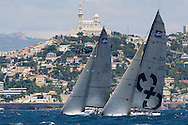 Cristabella and CXG Corporacion Caixagalicia head upwind during Race 4 of the AUDI Medcup in Marseille