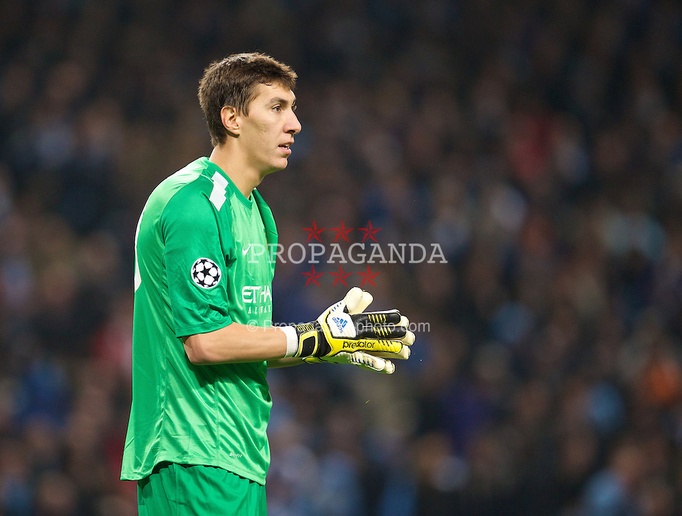 MANCHESTER, ENGLAND - Tuesday, November 5, 2013: Manchester City's goalkeeper Costel Pantilimon in action against CSKA Moscow during the UEFA Champions League Group D match at the City of Manchester Stadium. (Pic by David Rawcliffe/Propaganda)