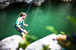 Maja Vidmar Štremfelj during Qalifications in climbing the Kanal bridge on August 3, 2019 in Kanal ob Soci, Slovenia. Photo by Peter Podobnik / Sportida