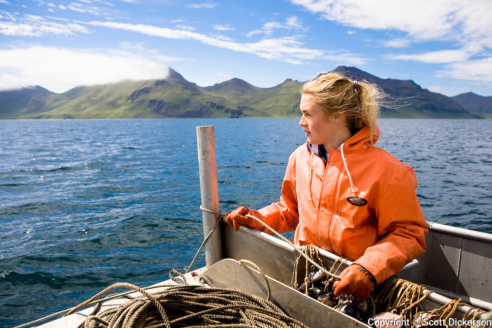 Emma Teal Laukitis commercial longline fishing for pacific halibut in the Aleutian Islands, Alaska.