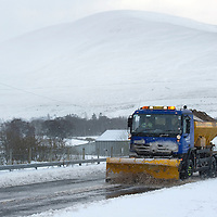 A93 at Spittal of Glenshee blocked by snow....25.11.10<br /> A snow plough comes through the closed snow gates at the Spittal of Glenshee on the A93<br /> Picture by Graeme Hart.<br /> Copyright Perthshire Picture Agency<br /> Tel: 01738 623350  Mobile: 07990 594431