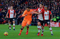 SOUTHAMPTON, ENGLAND - Sunday, February 11, 2018: Liverpool's Roberto Firmino and Southampton's Jack Stephens during the FA Premier League match between Southampton FC and Liverpool FC at St. Mary's Stadium. (Pic by David Rawcliffe/Propaganda)