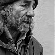 Portrait Mark, one of Atlantic City invisible homeless persons on the boardwalk in the winter.<br />
