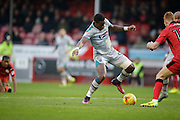 Omar Bogle takes shot at goal during the EFL Sky Bet League 2 match between Crawley Town and Grimsby Town FC at the Checkatrade.com Stadium, Crawley, England on 26 November 2016. Photo by Jarrod Moore.