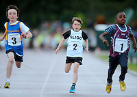 20 Aug 2016:  l-r; Daithi Smith, from Tipperary, Danny Woodrow, Sligo, and Wisom Ike, from Galway, cross the line in the Boys U10 100m heats.   2016 Community Games National Festival 2016.  Athlone Institute of Technology, Athlone, Co. Westmeath. Picture: Caroline Quinn