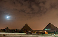 The Pyramids of Giza under the moon on the magical night of  12.21.2012.