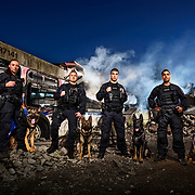 VPD 2018 K9 Calendar-  Rubble pile with new dog handlers.
