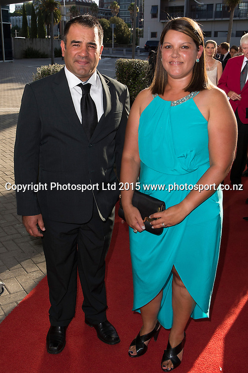 Stacey and Rachelle Jones pose for a picture on the red carpet at the 52nd Halberg Awards. Halberg Disability Sport Foundation. Vector Arena, Auckland, New Zealand. Wednesday 11 February 2015. Copyright Photo: David Rowland / www.photosport.co.nz