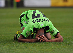 Forest Green Rovers's Kurtis Guthrie picks up an injury - Photo mandatory by-line: Nizaam Jones - Mobile: 07966 386802 - 25/04/2015 - SPORT - Football - Nailsworth - The New Lawn - Forest Green Rovers v Dover - Vanarama Conference League