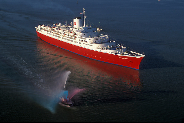 Aerial view of a large ocean liner