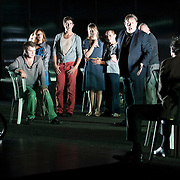 October 3, 2012 - Brooklyn, NY : The cast performs in a technical rehearsal of the Théâtre de la Ville's production of French-Romanian playwright Eugène Ionesco's 1959 play 'Rhinocéros' at BAM in Brooklyn on Wednesday night. The traveling production will perform from Oct. 4-6, 2012. CREDIT: Karsten Moran for The New York Times