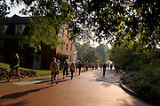 17086CAMPUS: Leaf, Students, Shiveley Fall Nelson:Front Four 9/13/05