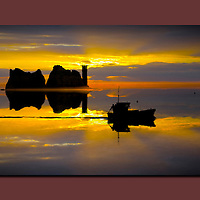 The Needles, sunset, fishing boat, Isle of Wight, UK, canvas canvases prints print