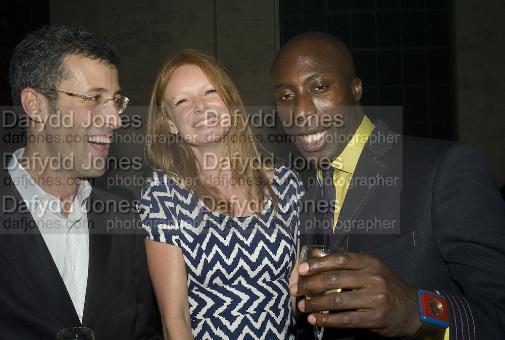 Andrea Crippa, Olivia Inge and Oswald Boateng, 130 Years Of Veuve Clicquot Yellow, The Wapping Project, Wapping Wall, London, E1,13 November 2007. -DO NOT ARCHIVE-© Copyright Photograph by Dafydd Jones. 248 Clapham Rd. London SW9 0PZ. Tel 0207 820 0771. www.dafjones.com.