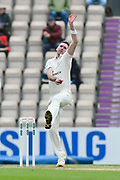 Steve Magoffin of Worcestershire bowling during the Specsavers County Champ Div 1 match between Hampshire County Cricket Club and Worcestershire County Cricket Club at the Ageas Bowl, Southampton, United Kingdom on 13 April 2018. Picture by Graham Hunt.