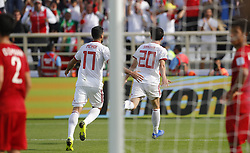 2019?1?12?.   ??????1???——D??????????.    1?12??????????·?????????????.    ??????????????2019???????D??????????????.    ????????..(SP)UAE-AL AIN-SOCCER-AFC ASIAN CUP 2019-GROUP D-VNM VS IRN..(190112) -- ABU DHABI, Jan. 12, 2019  Iran's Sardar Azmoun (2nd R) celebrates after scoring during the 2019 AFC Asian Cup group D match between Vietnam and Iran at the Al Nahyan Stadium in Abu Dhabi, the United Arab Emirates, Jan. 12, 2019. (Credit Image: © Xinhua via ZUMA Wire)