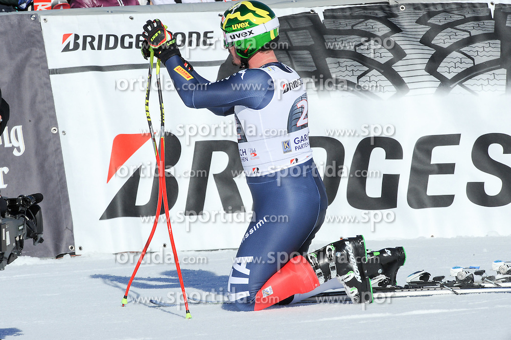 30.01.2016, Kandahar, Garmisch Partenkirchen, GER, FIS Weltcup Ski Alpin, Garmisch Partenkirchen, Abfahrt, Herren, im Bild Dominik Paris (ITA) // Dominik Paris of Italy reacts after his run of the men's Downhill of Garmisch FIS Ski Alpine World Cup at the Kandahar in Garmisch Partenkirchen, Germany on 2016/01/30. EXPA Pictures © 2016, PhotoCredit: EXPA/ Erich Spiess