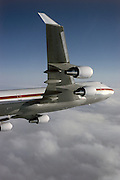Boeing 747-400 wing close up in flight