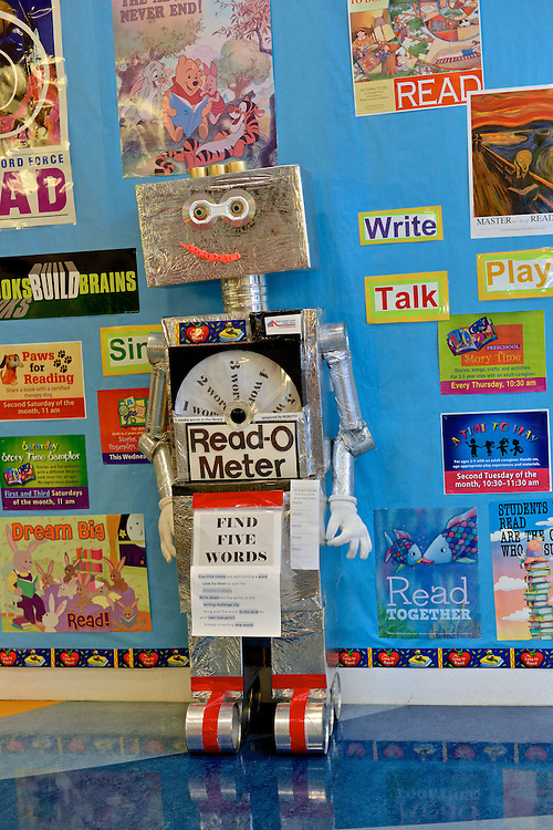 """The """"Read-o-Meter"""" at the children's section of the Akron-Summit County Public Library."""