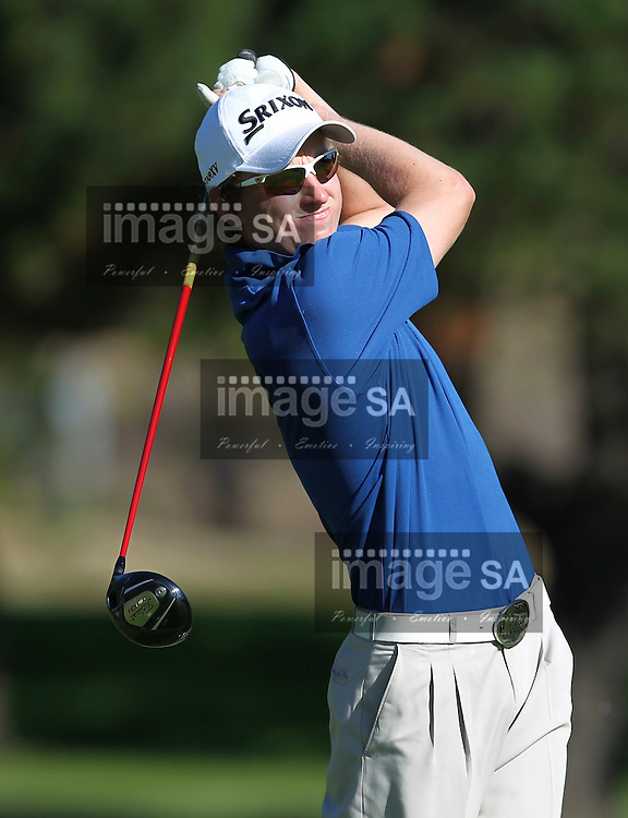 CAPE TOWN, SOUTH AFRICA, Monday 27 February 2011, Michael Dixon tees off on the 9th during the Sanlam SA Amateur Championship held at the Mowbray Golf Club..Photo by Roger Sedres/ImageSA