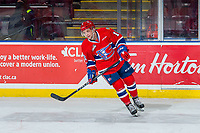KELOWNA, BC - FEBRUARY 06:  Kaden Hanas #15 of the Spokane Chiefs skates during warm up against the Kelowna Rockets  at Prospera Place on February 6, 2019 in Kelowna, Canada. (Photo by Marissa Baecker/Getty Images)